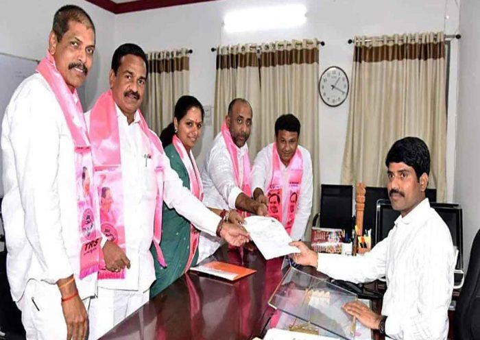 MLC Kavitha Teams Files Nomination In Support Of KCR